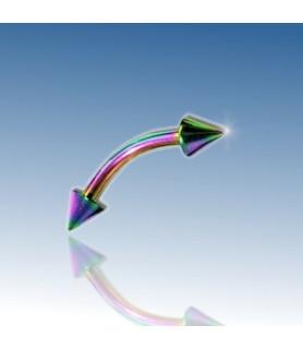 Rainbow-anodiseret øjenbryns-piercing med cones