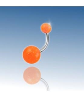 Orange glimmerkugle Navlepiercing