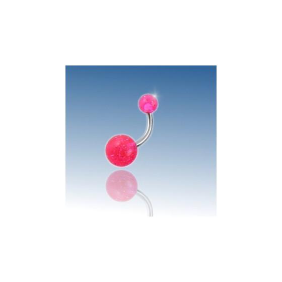 Pink glimmerkugle Navlepiercing