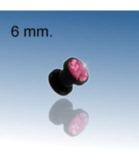 Pink øreplug piercing 6 mm