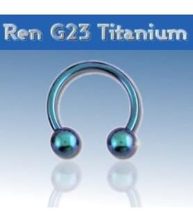 Lysblå titanium hestesko piercing G16 - 1.2mm