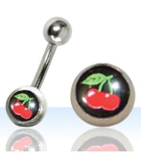 Navlepiercing med Cherry logo