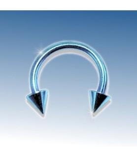 Flot Lysblå-anodiseret ring med cones 8 mm.