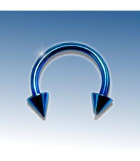 Flot Blå-anodiseret ring med cones 8 mm. G16 1.2mm