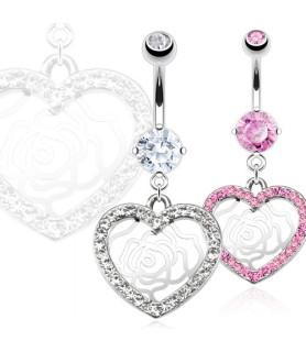 -Smukt juvelbesat  hjerte navlesmykke med flot udskåret rose.