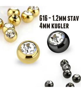 Piercingkugler med krystal G16 sort ell. guld