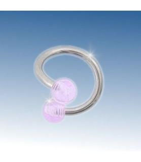 Tvister piercing med 2 Klare akryl kugler