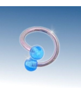 Tvister piercing med 2 blå akryl kugler