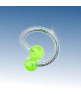Tvister piercing med 2 grønne akryl kugler