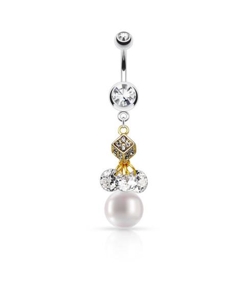 Smuk Stilfuldt navlesmykke med Perle og Zirconia