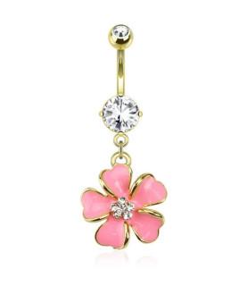 Smuk Pink Orkide til Navlepiercingen