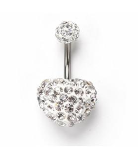 Smukt Fluffy Multi Zirconia besat hjerte til din navlepiercing