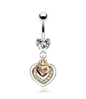 Heart in Hearts Navlesmykke med funklende Zirconia