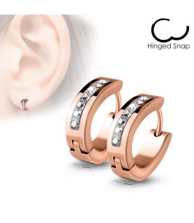 Rose Gold Hoops øreringe med masser af bling.