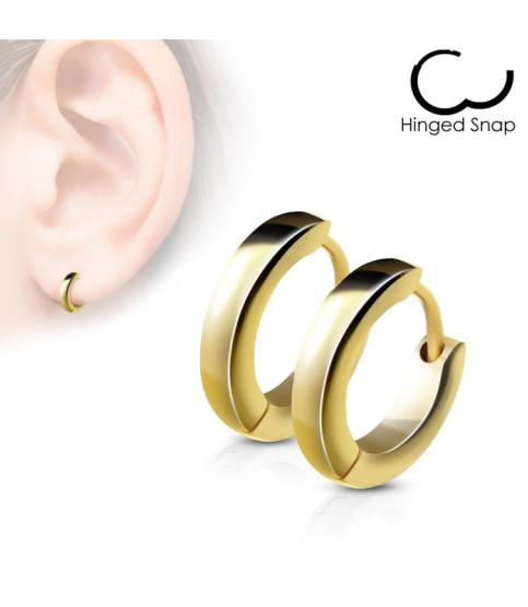 Flot stilfuld afrundet guldbelagt Hoop-Huggie ring