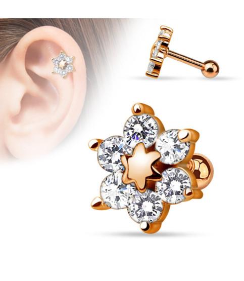 Smuk Rose gold Tragus Cartilage blomst til dit øre