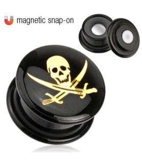 Fede Plugs med Skull and Sword i Pirat Stilen