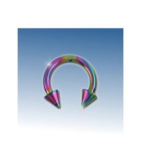 Flot pink rainbow ring med cones 8 mm.