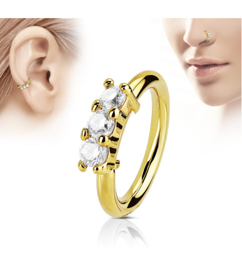 Guldbelagt Hoop Ring til næse eller ørepiercingen