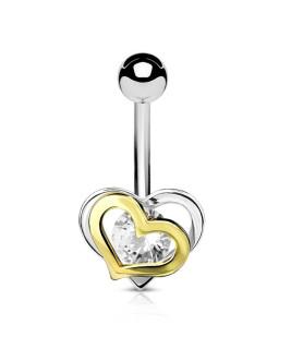 Heart To Heart Navlepiercing med Flot klar Zirconia
