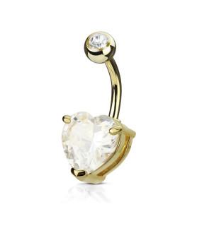 Guldbelagt Navlepiercing med stort klart Zirconia hjerte.