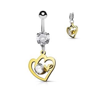 Navlepiercing med Two Hearts in LOVE