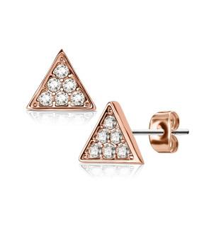 Smuk Rose Gold Triangle Ørering med CZ.