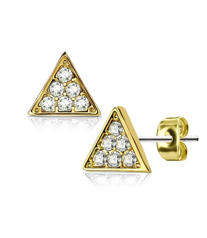 Smuk Guldbelagt Triangle Ørering med CZ.