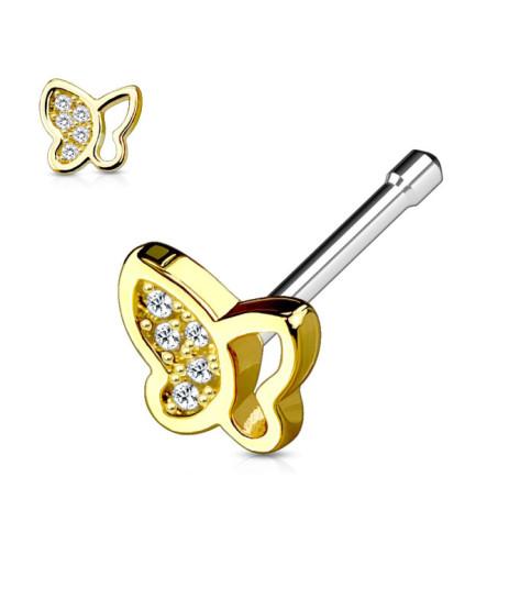 Guldbelagt Næsepiercingsmykke med flot funklende sommerfugl