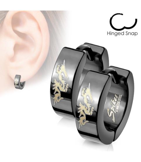 Huggie ørering sort-anodiseret m/gulddrage