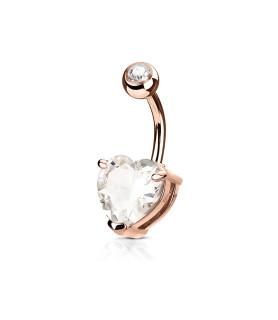 ROSE GOLD - Navlesmykke med Stort Zirconia hjerte