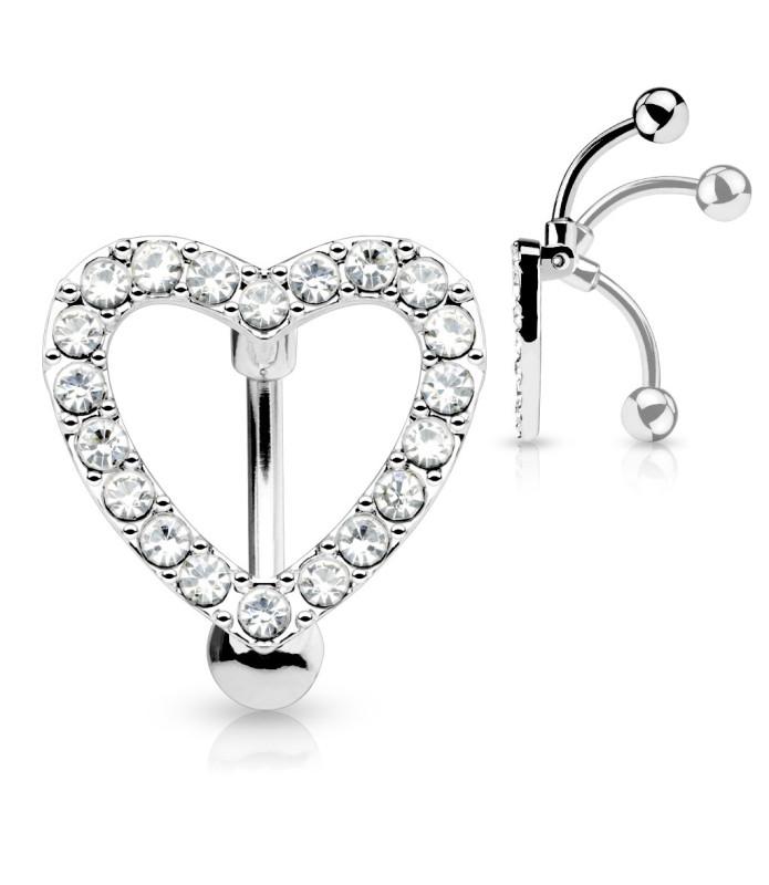 Funklende smuk Navlepiercing med Hjerte