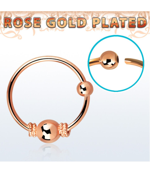 Næsering i rent sølv - Rose Gold Balinesisk design.