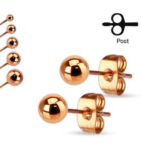 Rose Gold Ørerings sæt med 7mm Kugle
