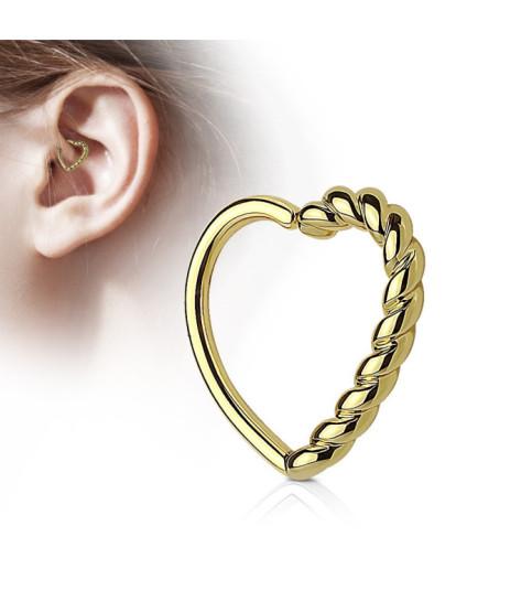 Guldbelagt hjerte til din Øre Cartilage, Daith eller Helix