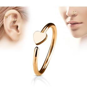 Næse - Øre Hoop Ring med flot Hjerte - Rose Gold