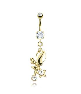 14K Guldbelagt navlepiercing med fe og krystaller