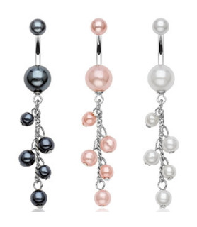 Navlepiercinger med 5 perler i lang kæde