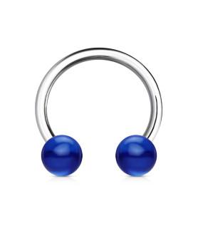 Hestesko barbel med blå acryl kugler G14