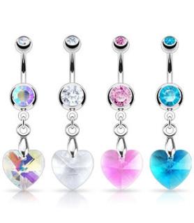 Navlepiercing med stort flot krystal-Hjerte