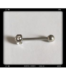 Flot tunge piercing med klare Zirconia