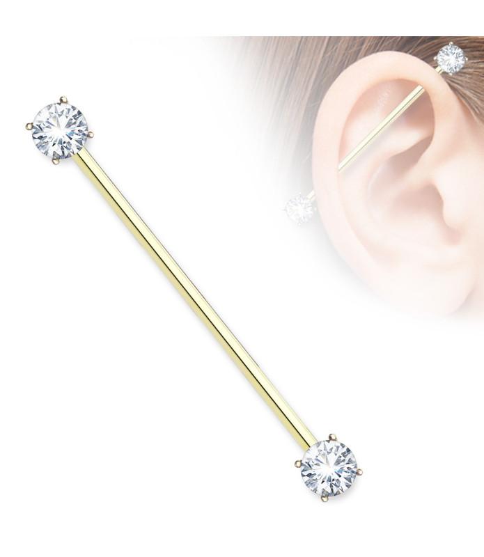 Guldbelagt Industrial piercing med Smukke runde Zirconia
