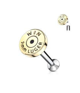 Flot 9mm Backend bullet  Piercing til Øret Helix eller som labret