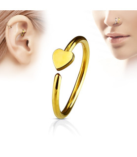 Guldbelagt Næse eller Øre Cartilage ring med hjerte