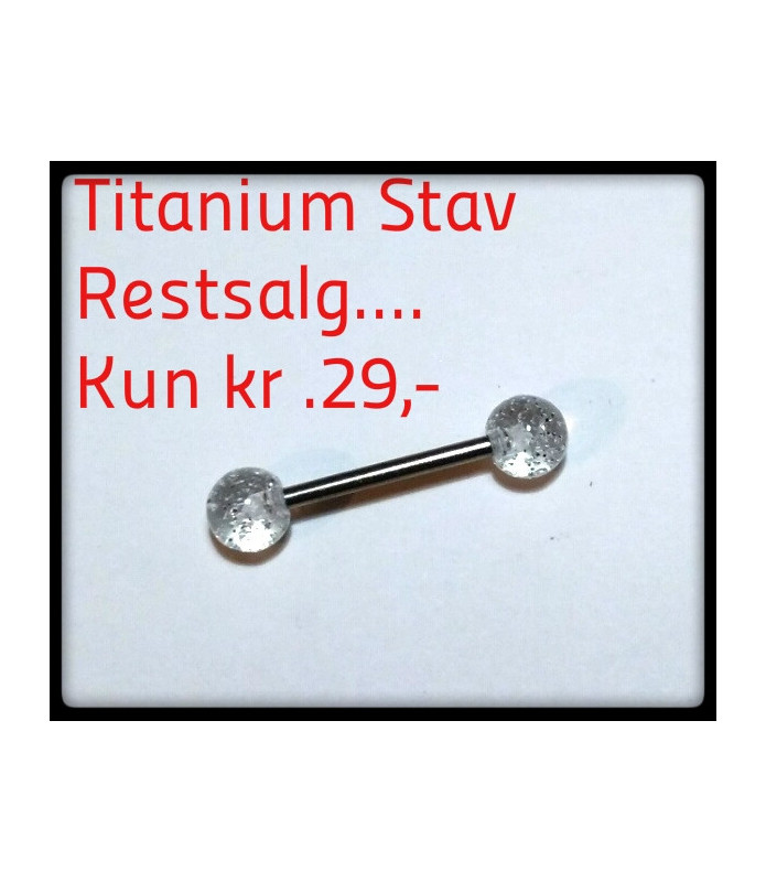 Titanium Tungepiercing med Klare glimmerkugler