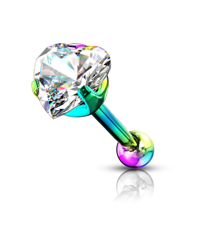 Hjerte Zirconia i Rainbow farve til din Tragus / Helix