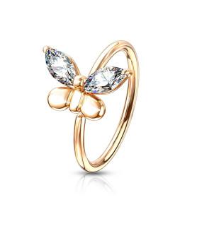Smuk Bøjelig Rose-Gold Næse eller Øre Cartilage ring.