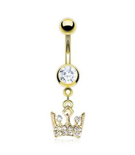 Guldbelagt Royal Crown til Din Navlepiercing