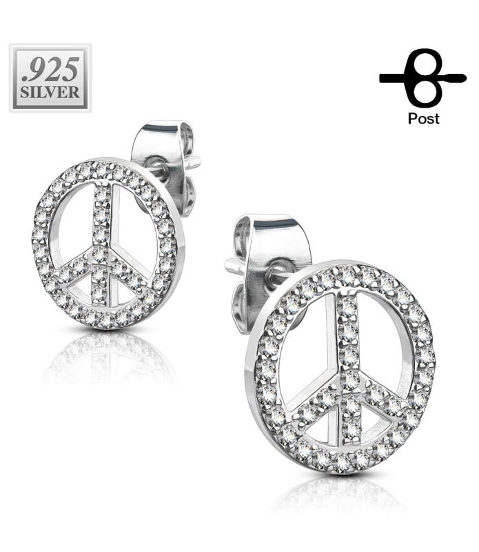 Øreringe i PEACE design i Ægte Sterling Silver