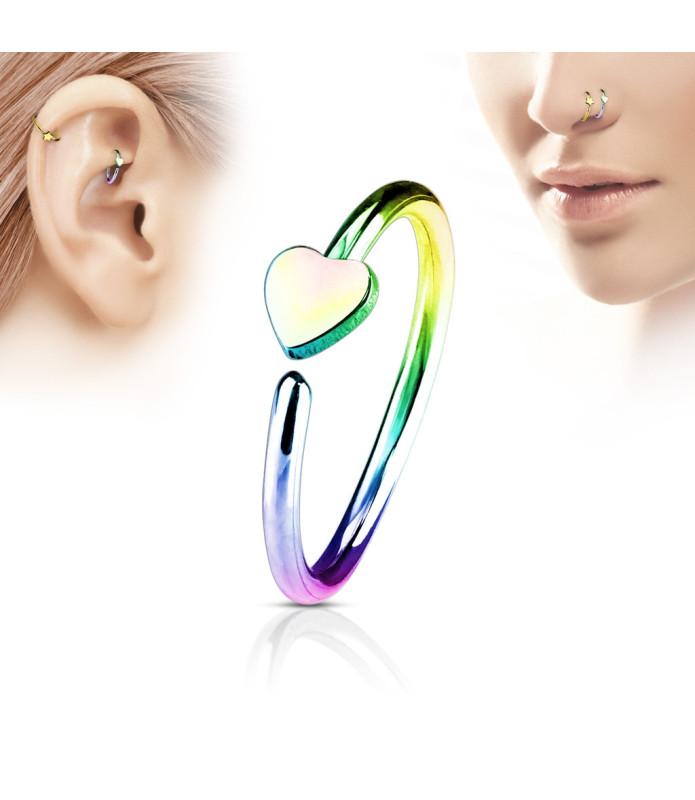 Rainbow farvet Næse - Øre Hoop Ring med flot Hjerte
